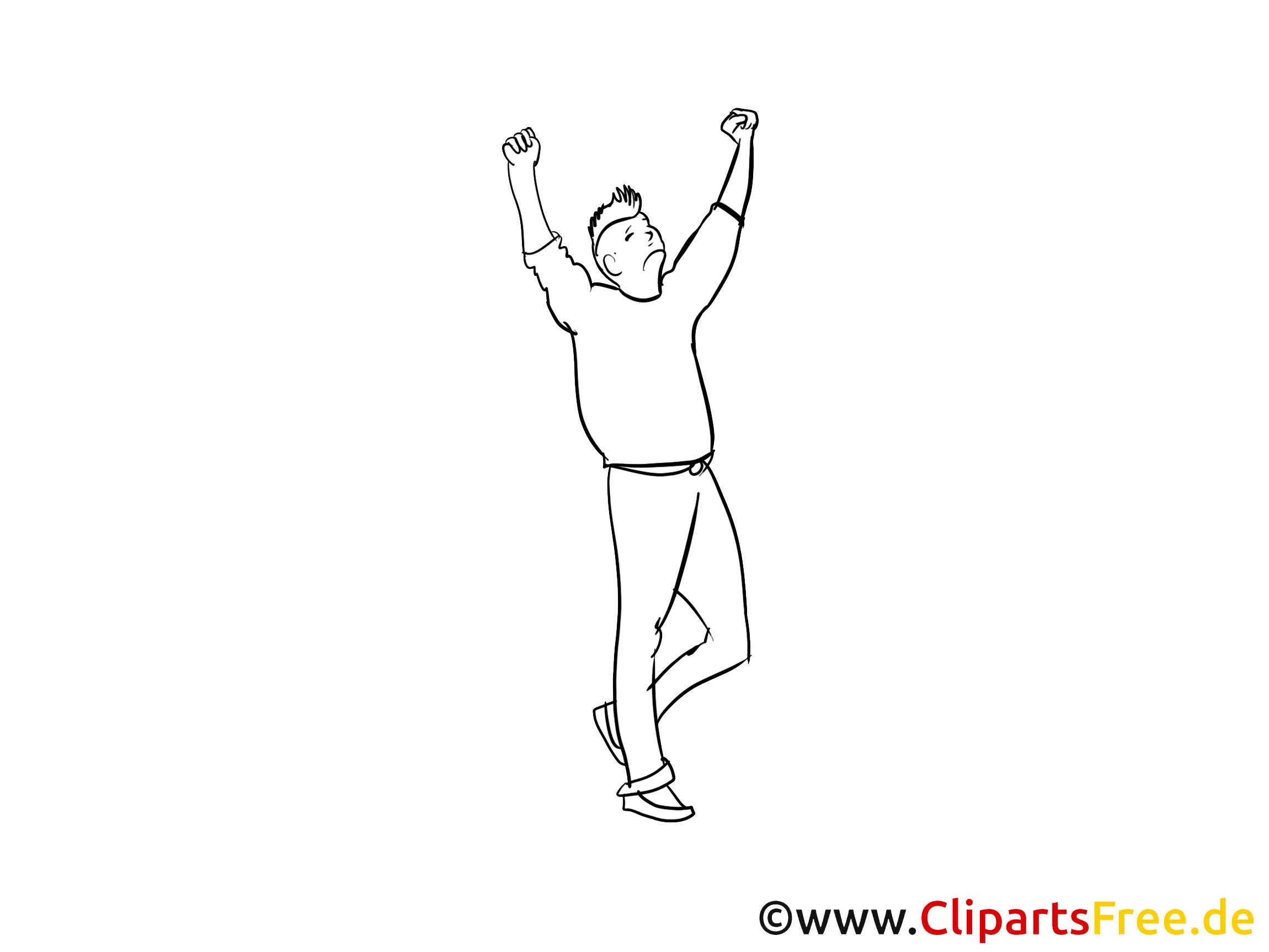 Mann jubelt Clipart, Bild, Cartoon