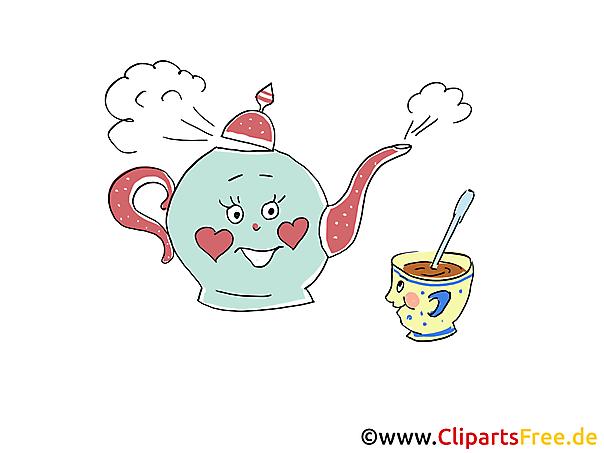 ティーポットとカップの漫画、写真、グラフィック