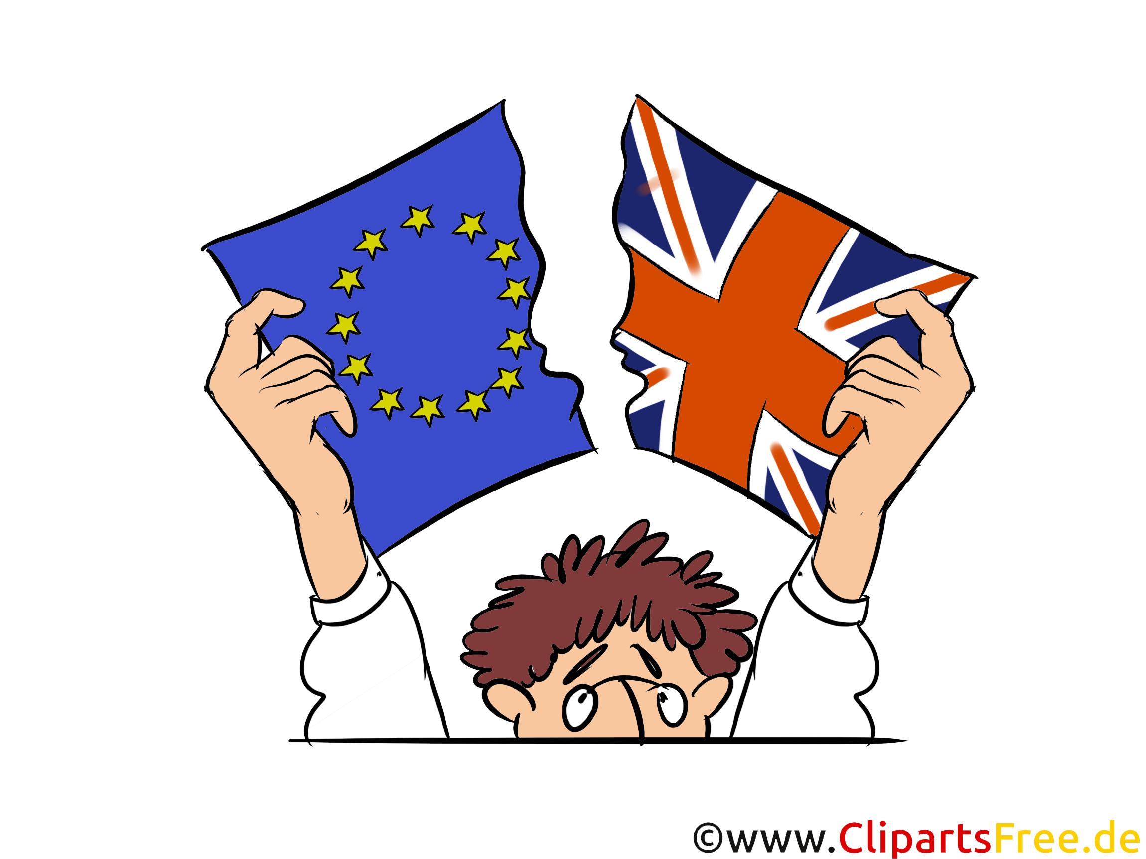 Brexit Flaggen EU UK - Bilder, Illustrationen, Clipart