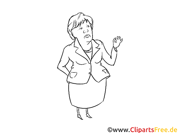 Angela Merkel Cartoon, Karikatur, Comic schwarz-weiss zum Drucken