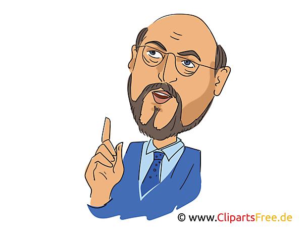 Martin Schulz Karikatur, Bild, Illustration, Comic