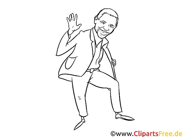 Obama Cartoon, Karikatur, Comic schwarz-weiss zum Drucken