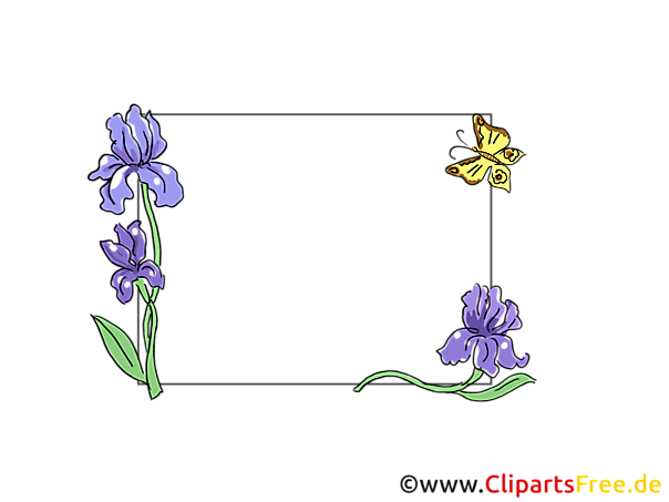 Schwertlilie,Iris Blumenranken Rahmen für Bilder und Fotos