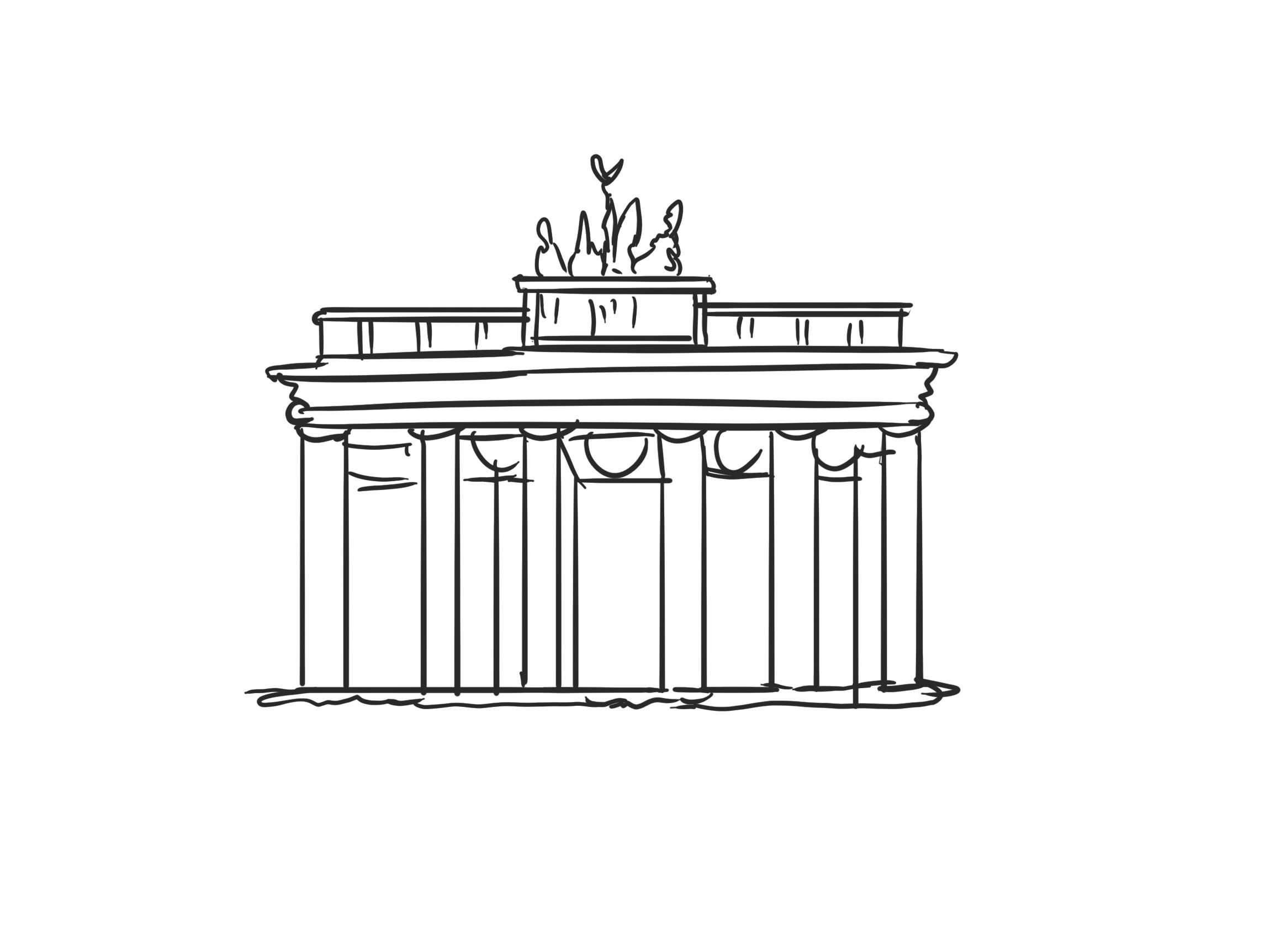 Brandenburger Tor in Berlin am Pariser Platz Zeichnung, Grafik
