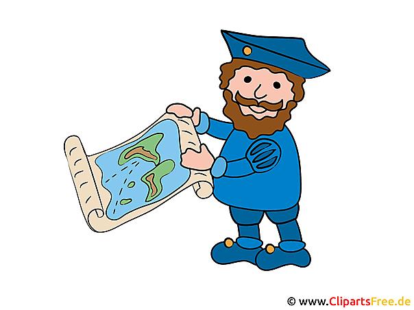 Christoph Columbus Comic, Cartoon, Bild, Clipart