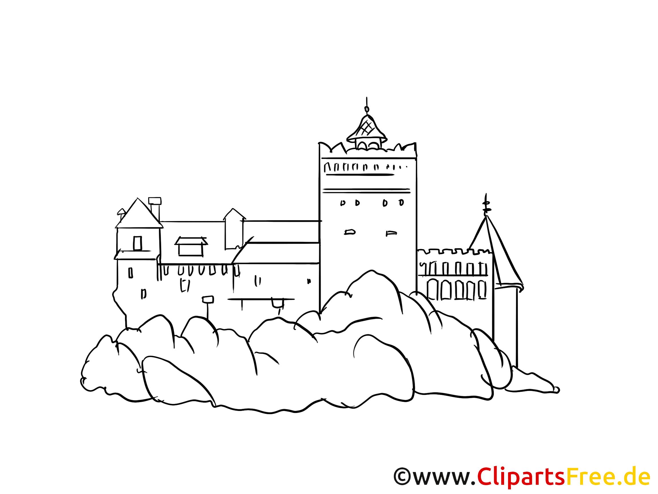 schloss bild zeichnung clipart gratis