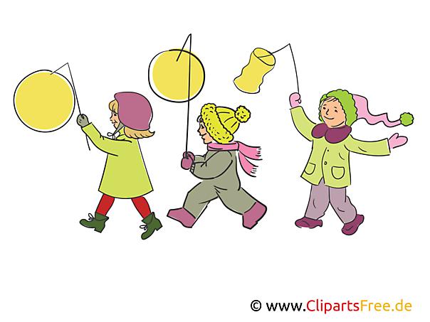 laternenumzug kinder mit laternen illustration clipart bild