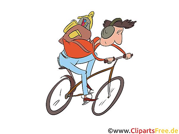 Bilder für Schule - Schüler auf dem Fahrrad