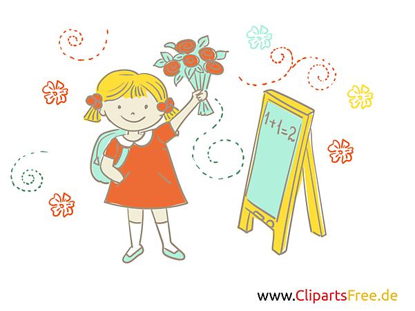 画像学校のクリップアート - 花束を持つ少女