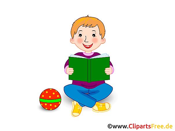 Lezingsboek bij de kunst van de schoolklem, illustratie, beeld