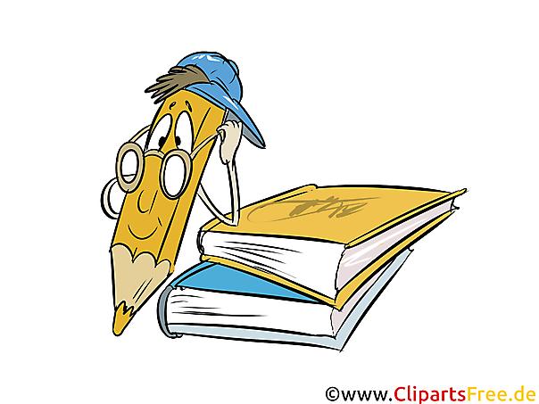 Boeken en kleurpotlood Mascotte Clipart, Cartoon, Afbeelding