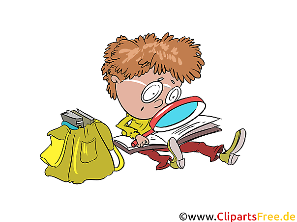 Clipart vrije student met vergrootglas, schooltas, leesboek