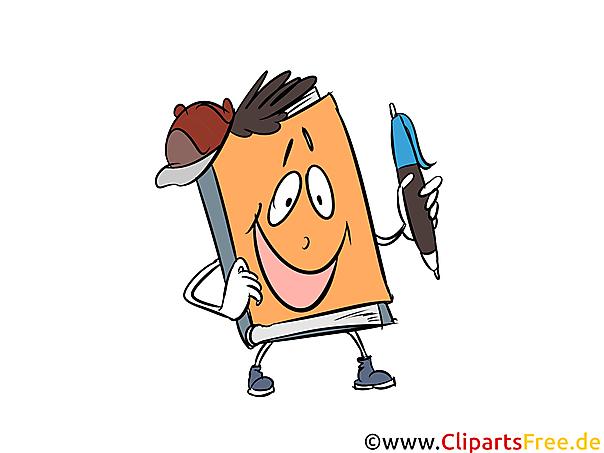 Clipart Maskottchen Buch, Schule, Lernen, Lehre, Ausbildung