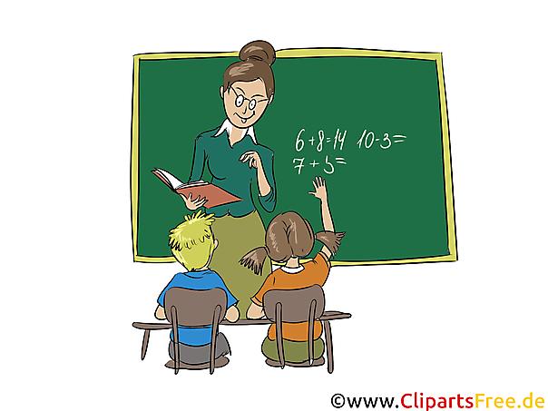 Clipart Schule, Lehrerin, Schüler, Schultafel grün, Unterricht
