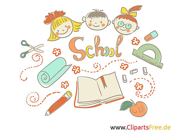 無料クリップアート学校カラフルで面白い