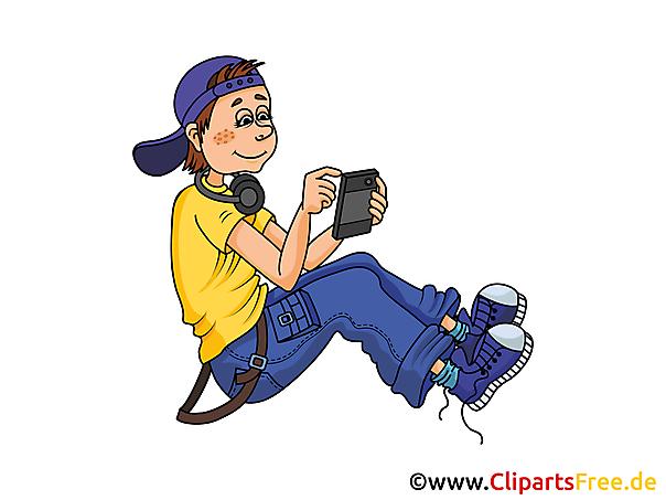 Junge mit Smartphone Illustration, Bild, Grafik, Clip Art gratis