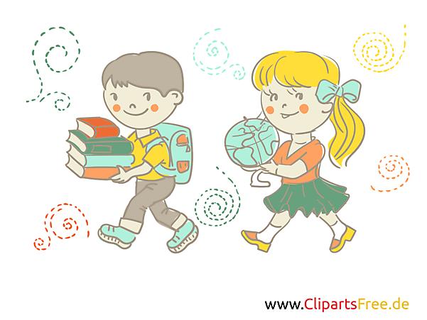 Kinder gehen in die Schule - Geografieunterricht Illustration, Bild, Clipart