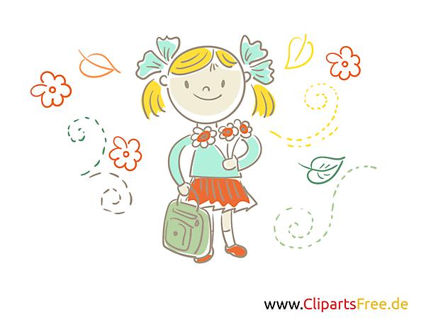 Kostenlose Illustration Mädchen, Schülerin geht in die Schule