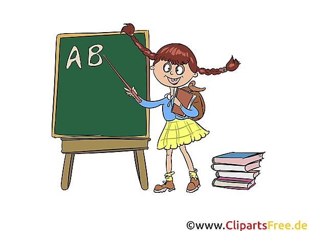 Schreibtafel, Kreidetafel in der Schule, Schulunterricht Clipart, Bild, Cartoon