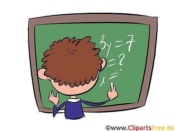 Leerling bij het groene bord Clipart, beeld, illustratie