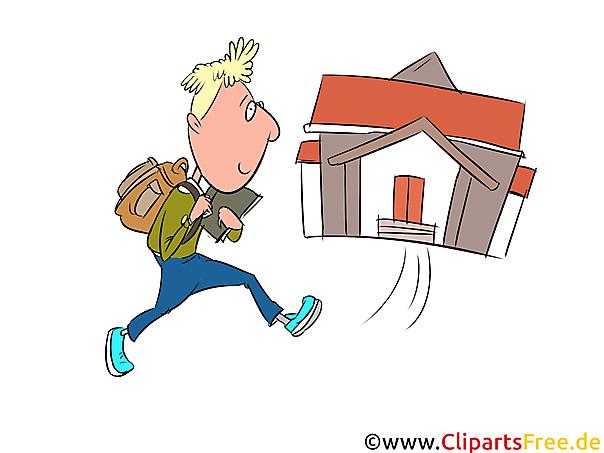Okul çocuğu okula gidiyor resim, illüstrasyon, küçük resim, sanat