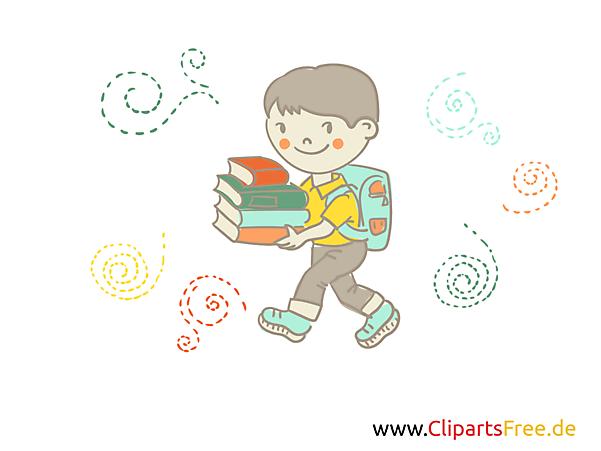 Schüler mit Bücher Clipart, Bild, Grafik, Comic