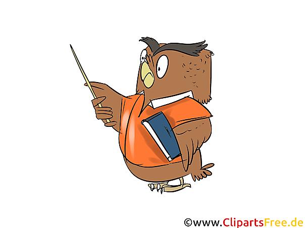 Uhu als Lehrer Cartoon, Comic, Clipart, Grafik kostenlos