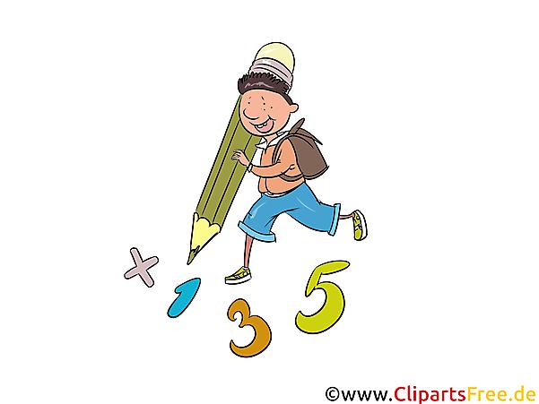Zahlen schreiben lernen, Mathe, Unterricht Clipart, Comic, Bild