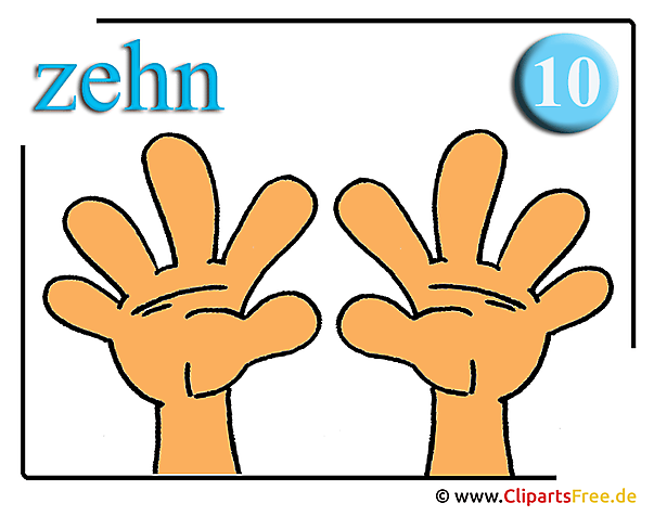 Zehn Finger Clipart für Mathe