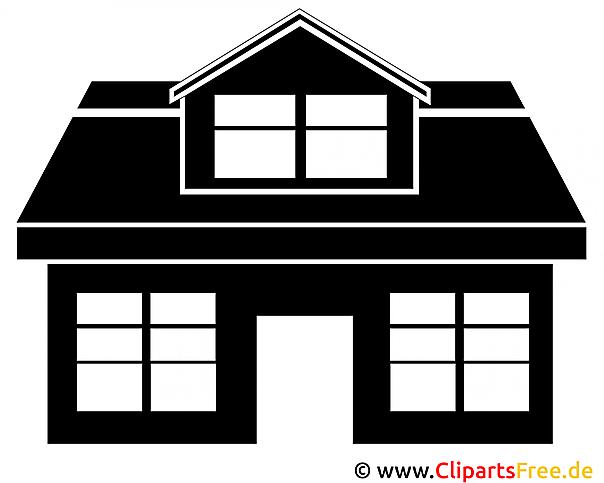 Haus clipart schwarz weiß  Haus Silhouette Clipart