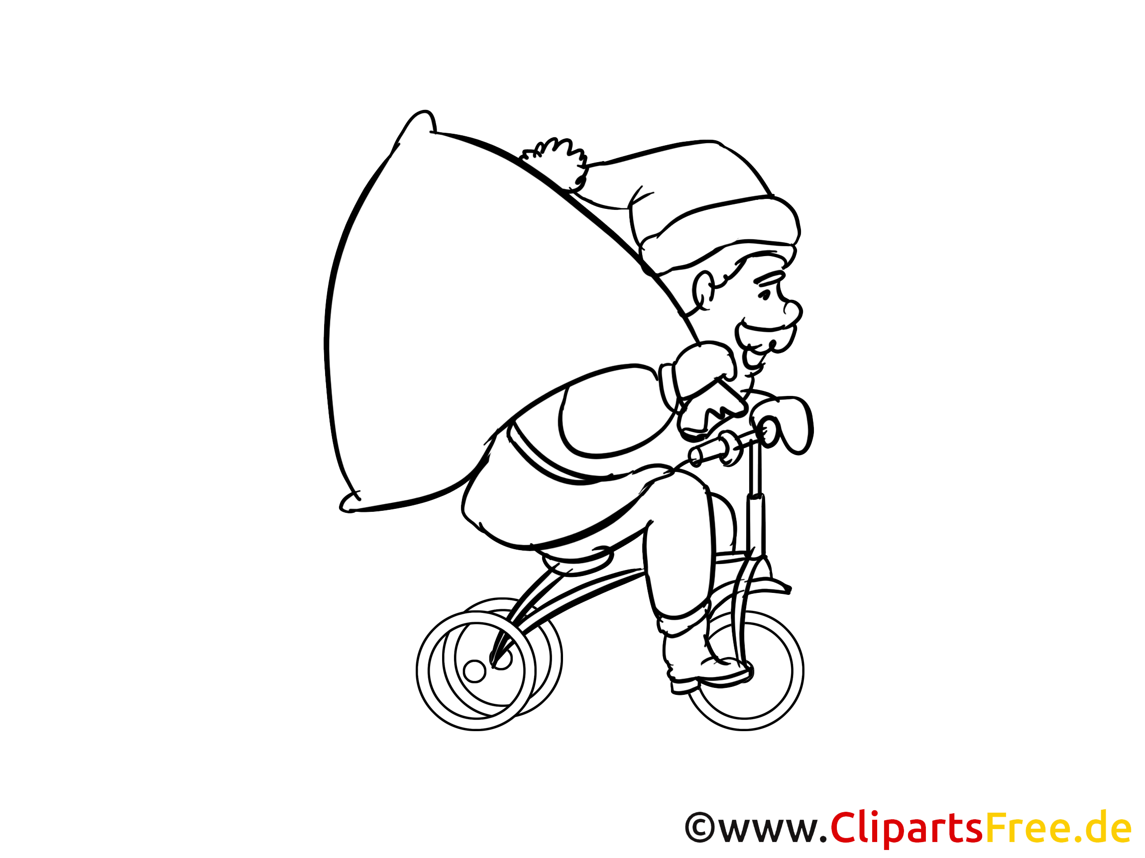 Santa Claus Am Fahrrad Bild Zum Ausmalen