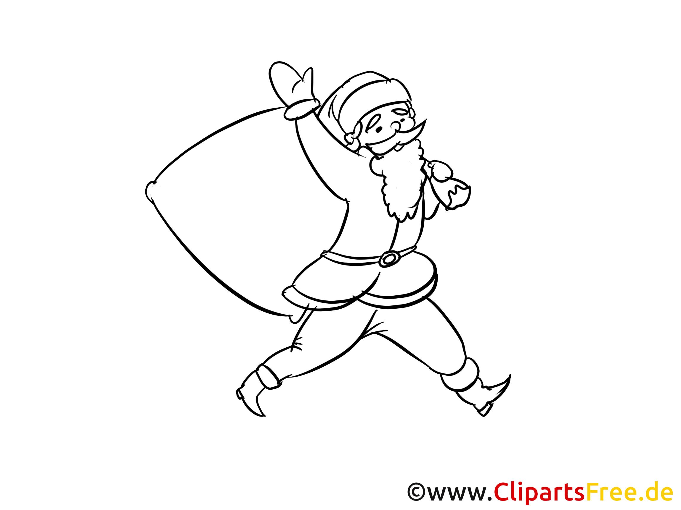 Santa kleurplaat om in te kleuren