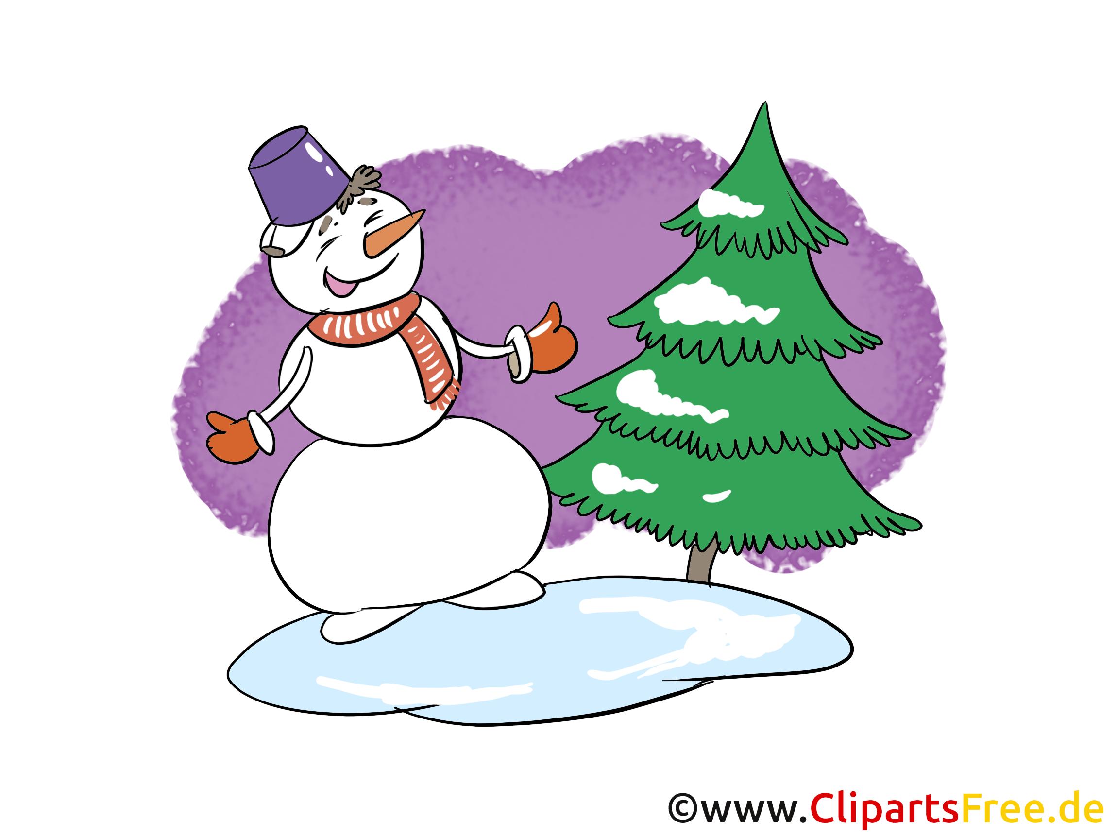 Schneemann, Tannenbaum, Winter, Schnee Bild, Clip Art, Image, Cartoon