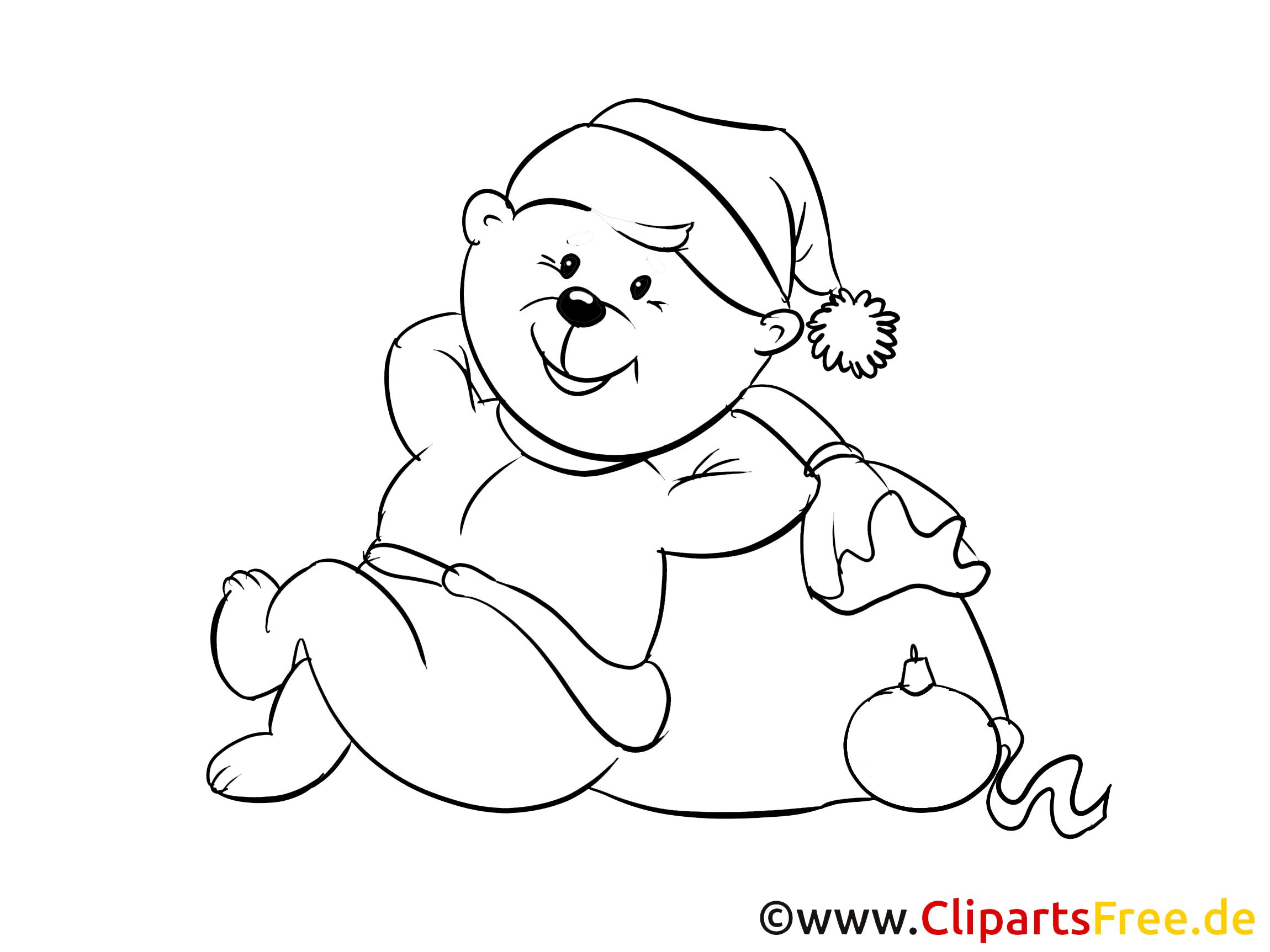 silvester teddy zum ausmalen