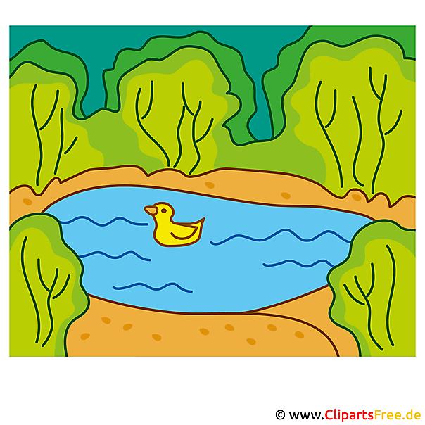 Eend in de vijver Clipart - royalty-vrije en zomer gratis afbeeldingen