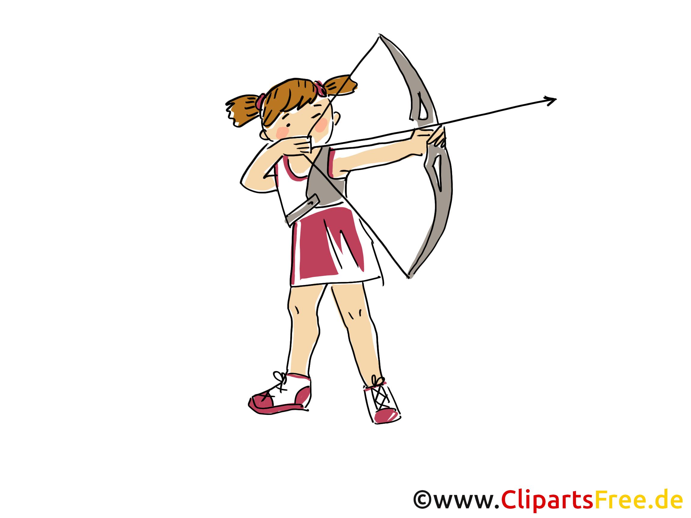Bogenschiessen Bild Clipart Comic Cartoon Image Gratis