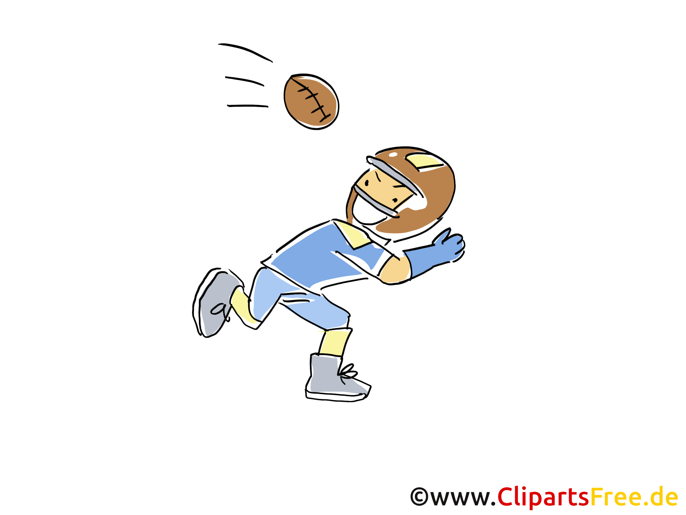 Football Player Sport Clipart, Cartoon, Cartoon, Afbeelding gratis