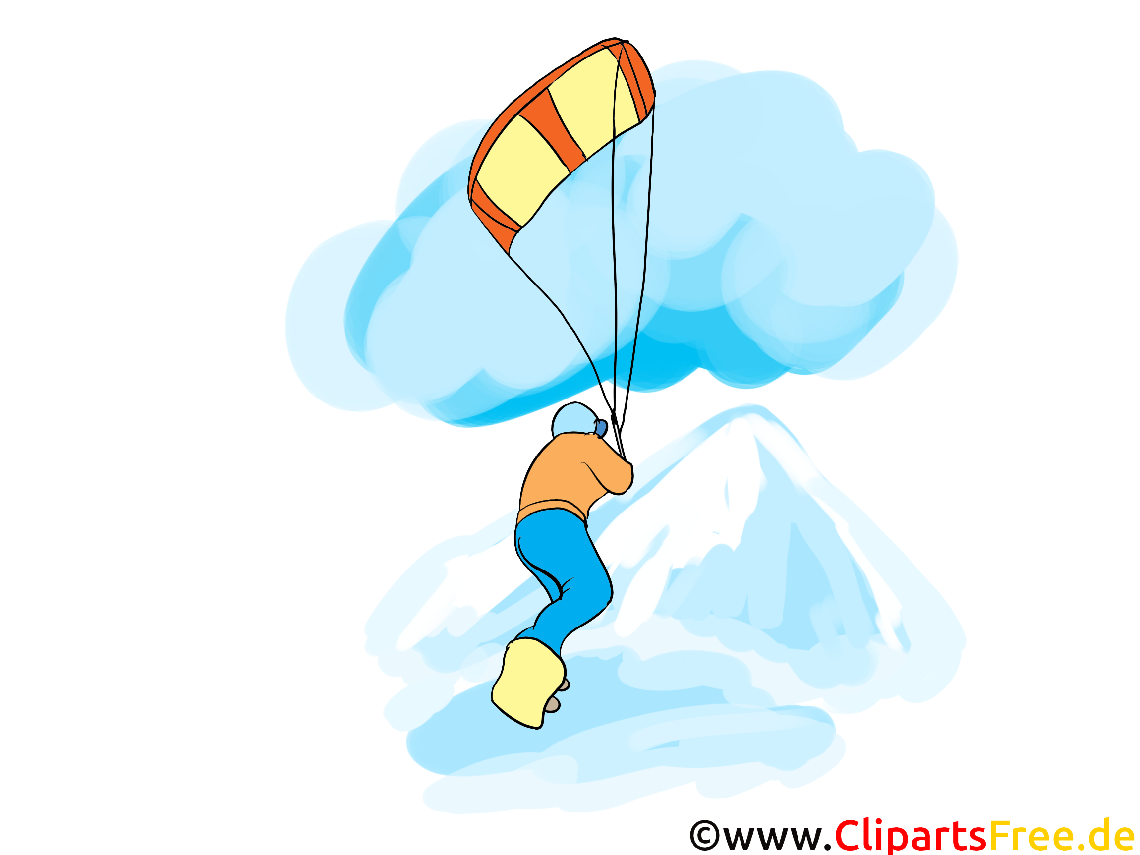 Paraglider Clipart, Afbeelding, Cartoon, Strip, Illustratie