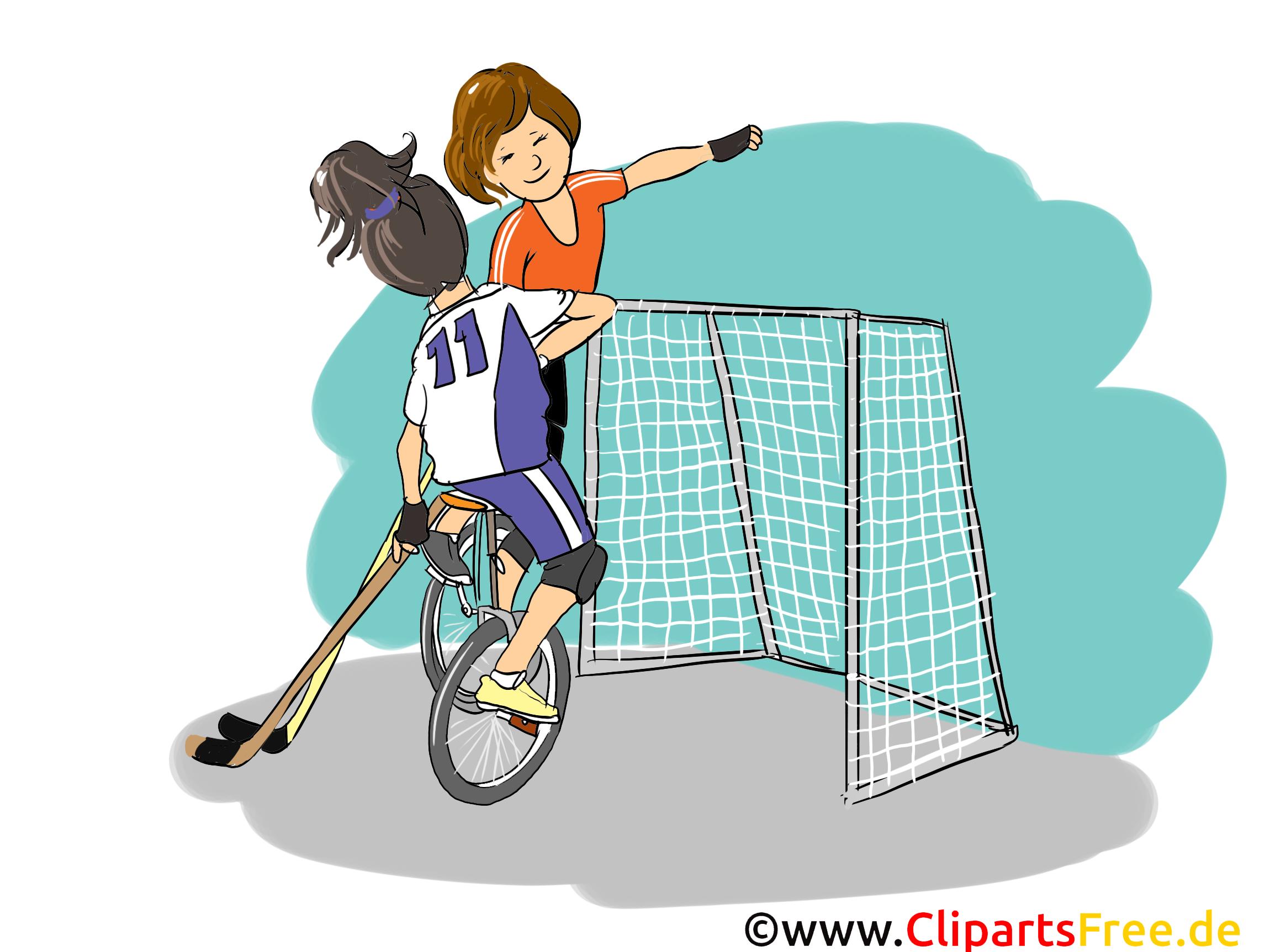 Hockey op fiets Clipart, afbeelding, Cartoon, komisch, illustratie