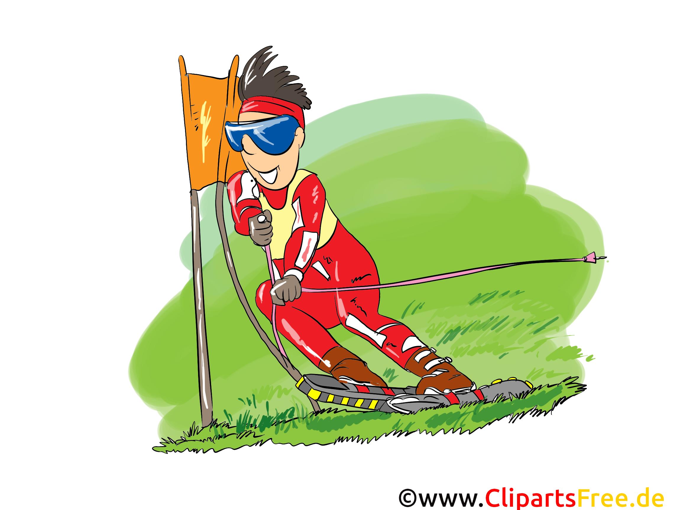 Ski in de zomerbeeldverhaal, klemkunst, beeld, grappig, illustratie