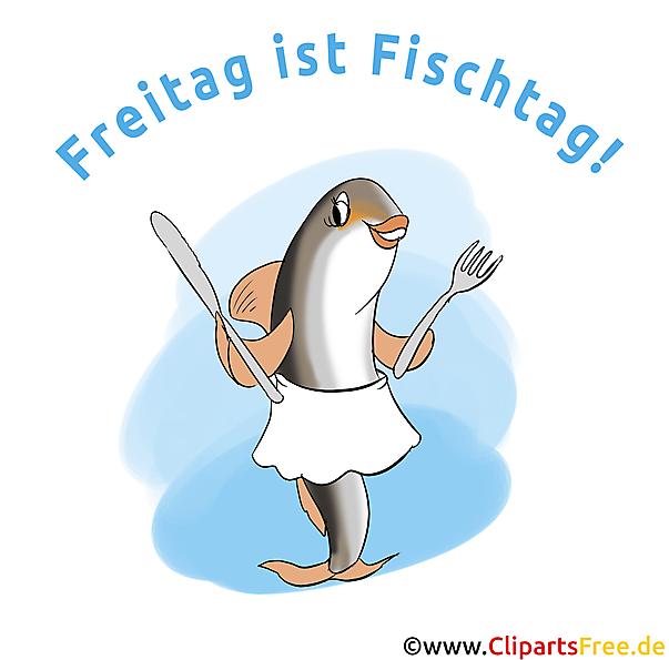 Freitag ist Fischtag - Witziges Bild, Cartoon, Clipart, Plakat ...