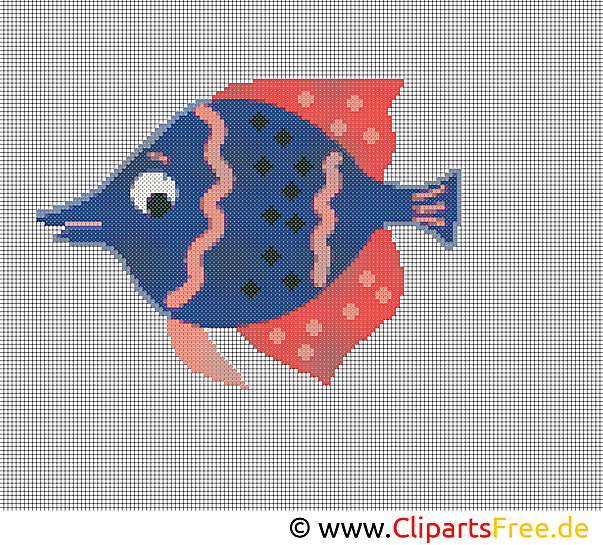 水族館で魚を印刷するためのクロスステッチテンプレート