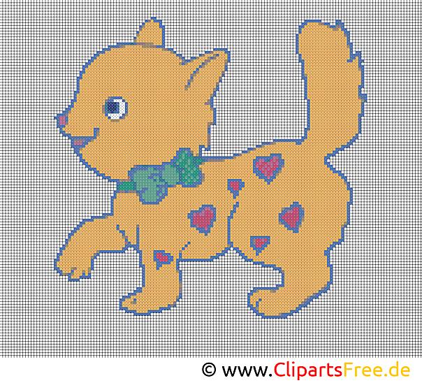 刺繍デザイン猫クロスステッチ