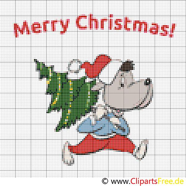 Kreuzstich Weihnachten witzig