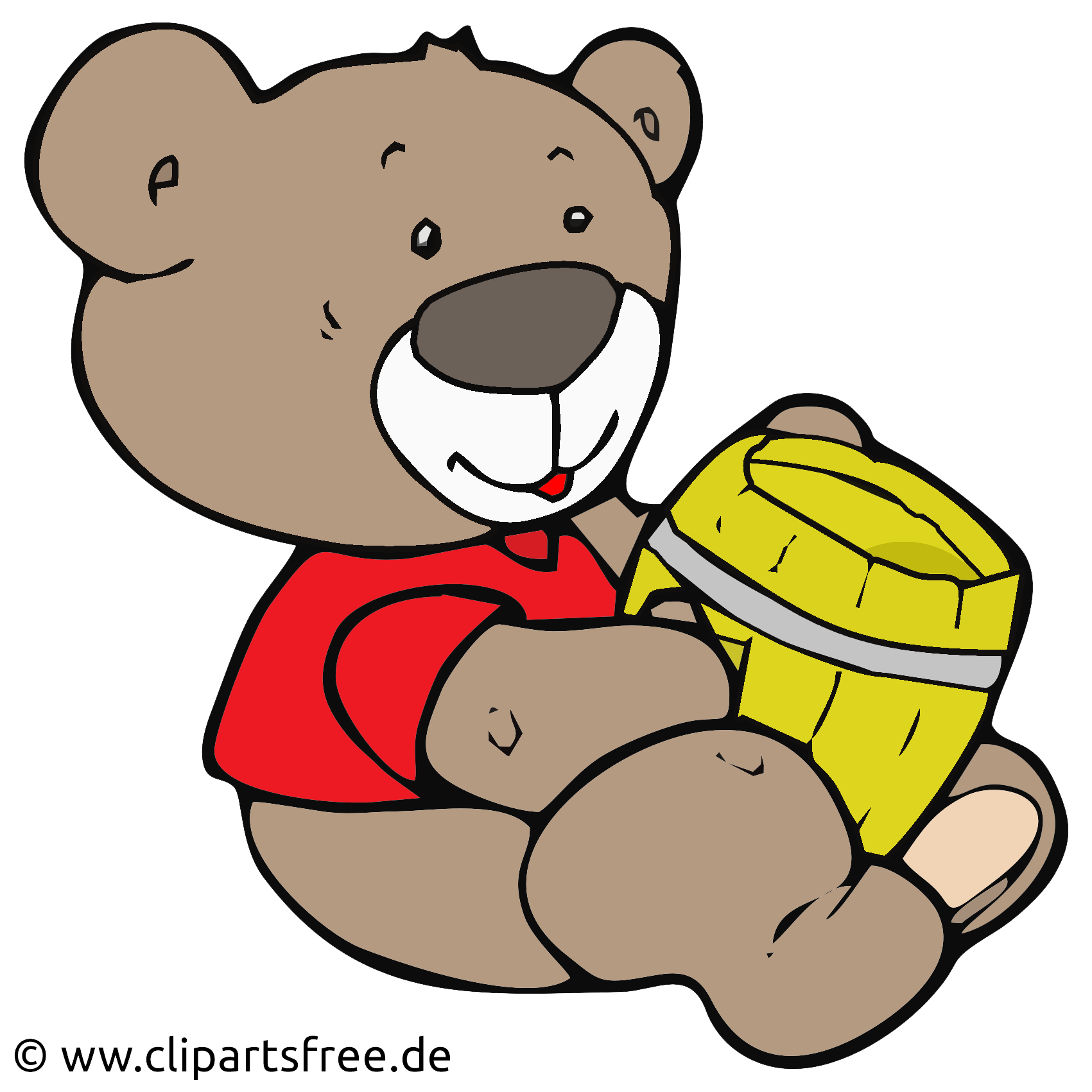 Baer mit Honig Clip Art, Cartoon, Illustration