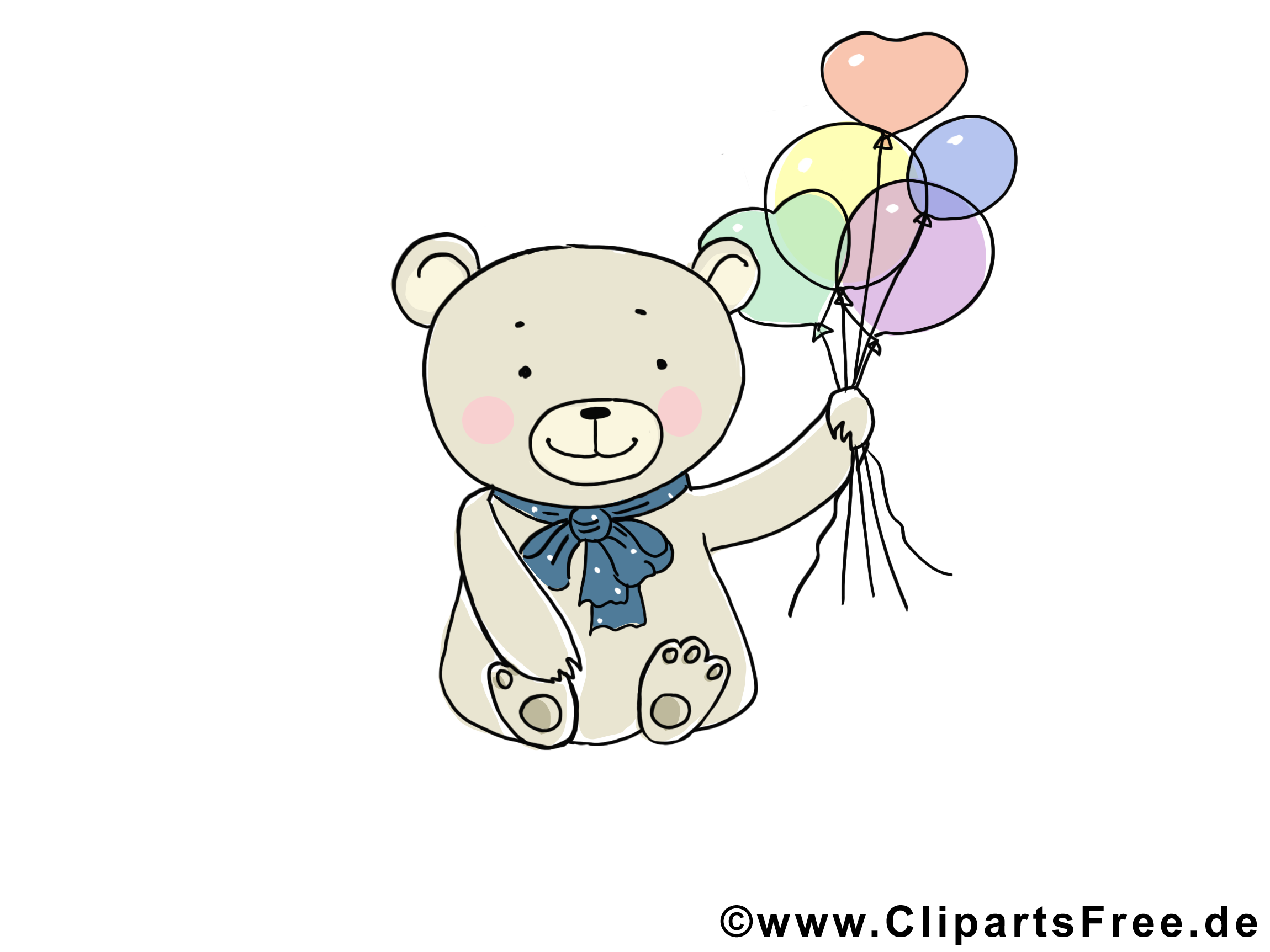 Kostenlose Tierbilder - Baer mit Luftballons