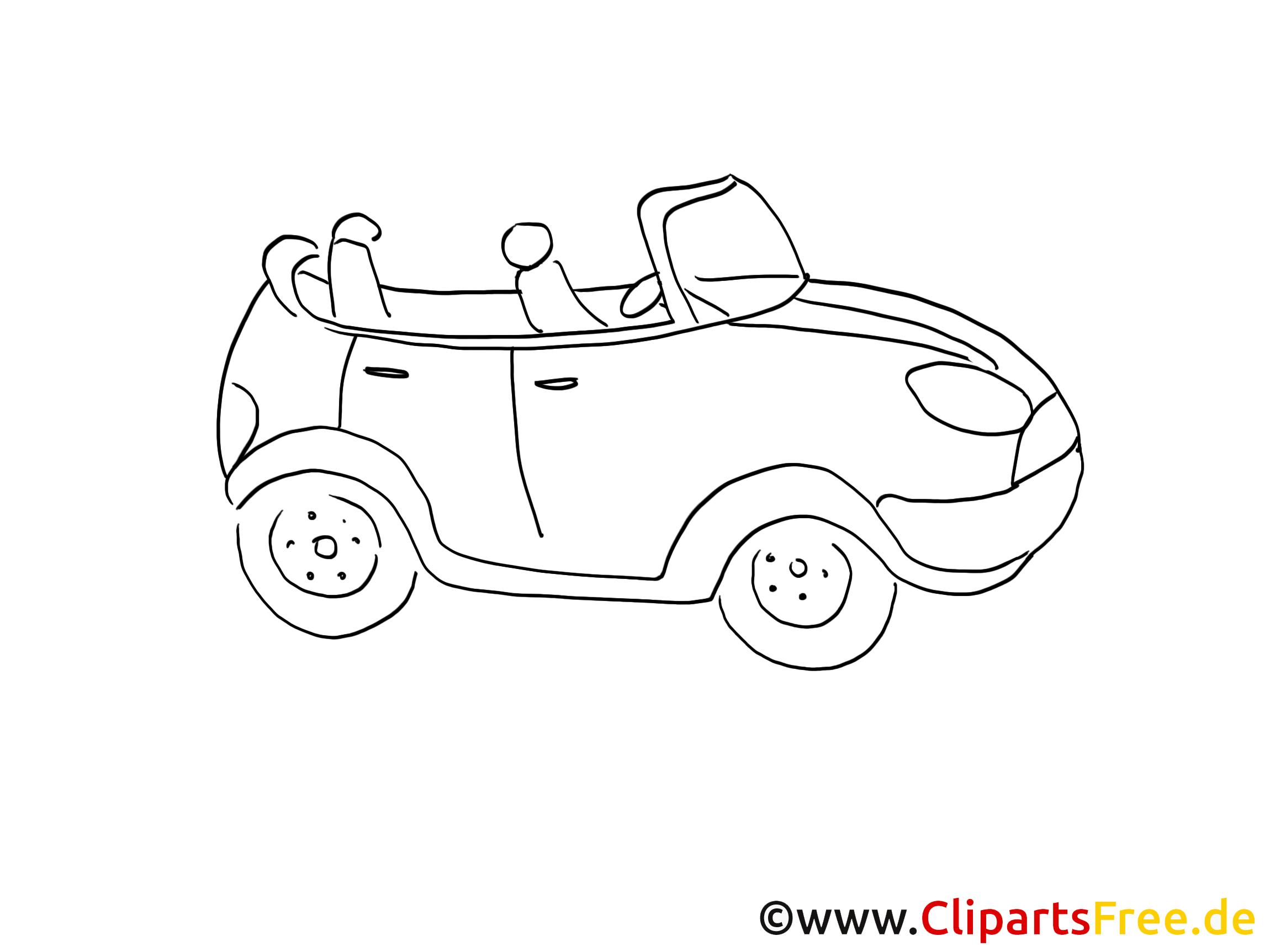 Automobil Zeichnung, Grafik schwarz-weiss, Clipart, Bild