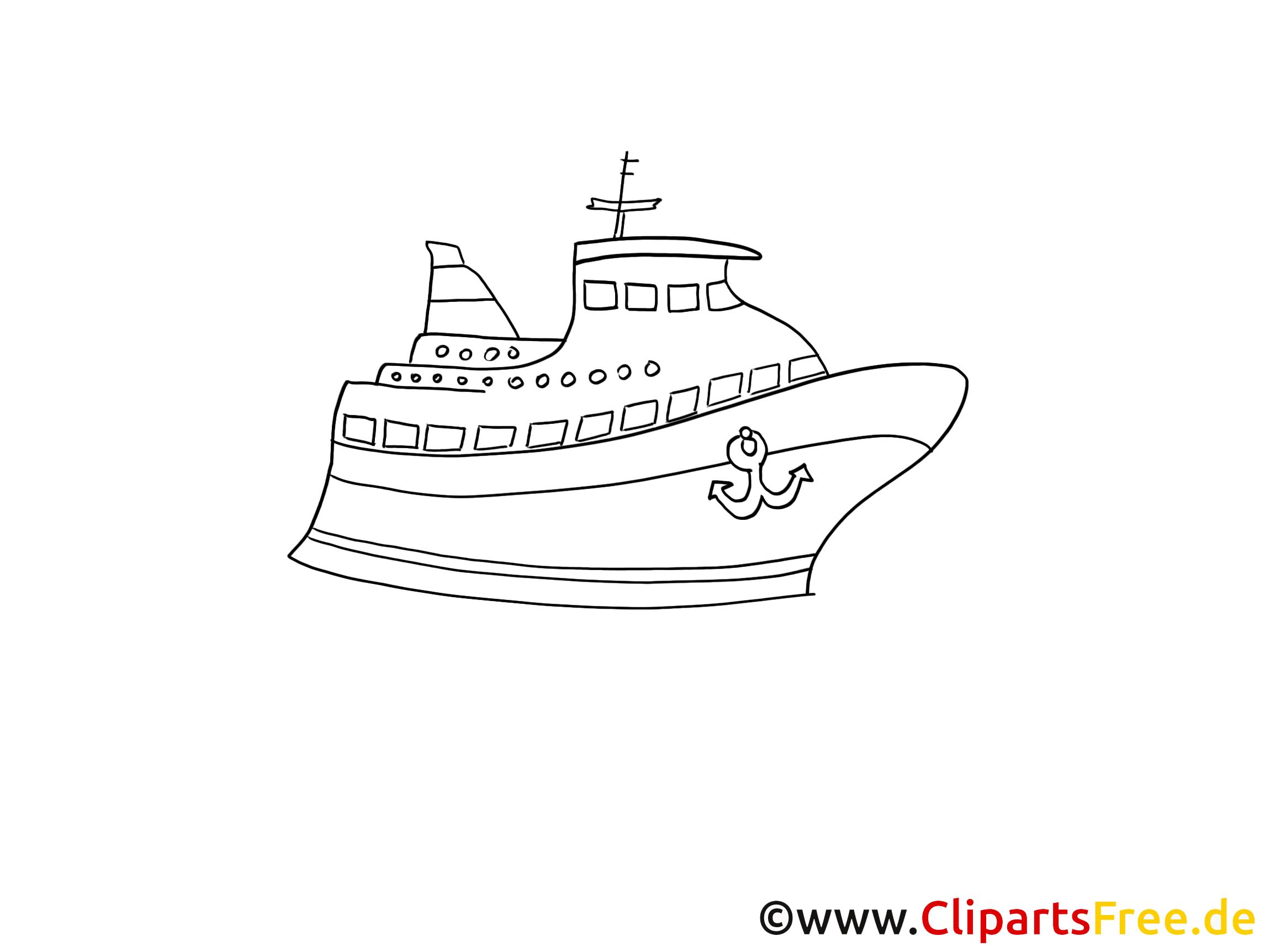 Cruise Liner Zeichnung, Grafik schwarz-weiss, Clipart, Bild