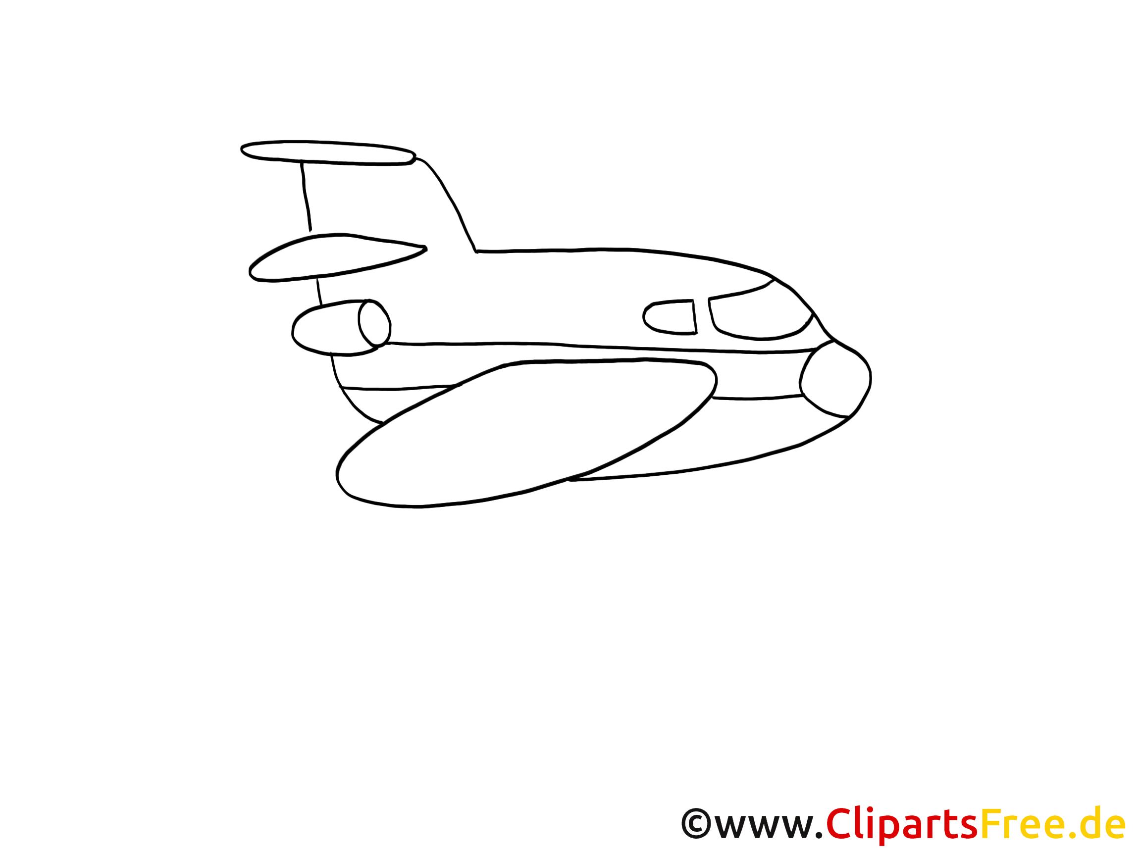 Flugzeug Zeichnung, Grafik schwarz-weiss, Clipart, Bild