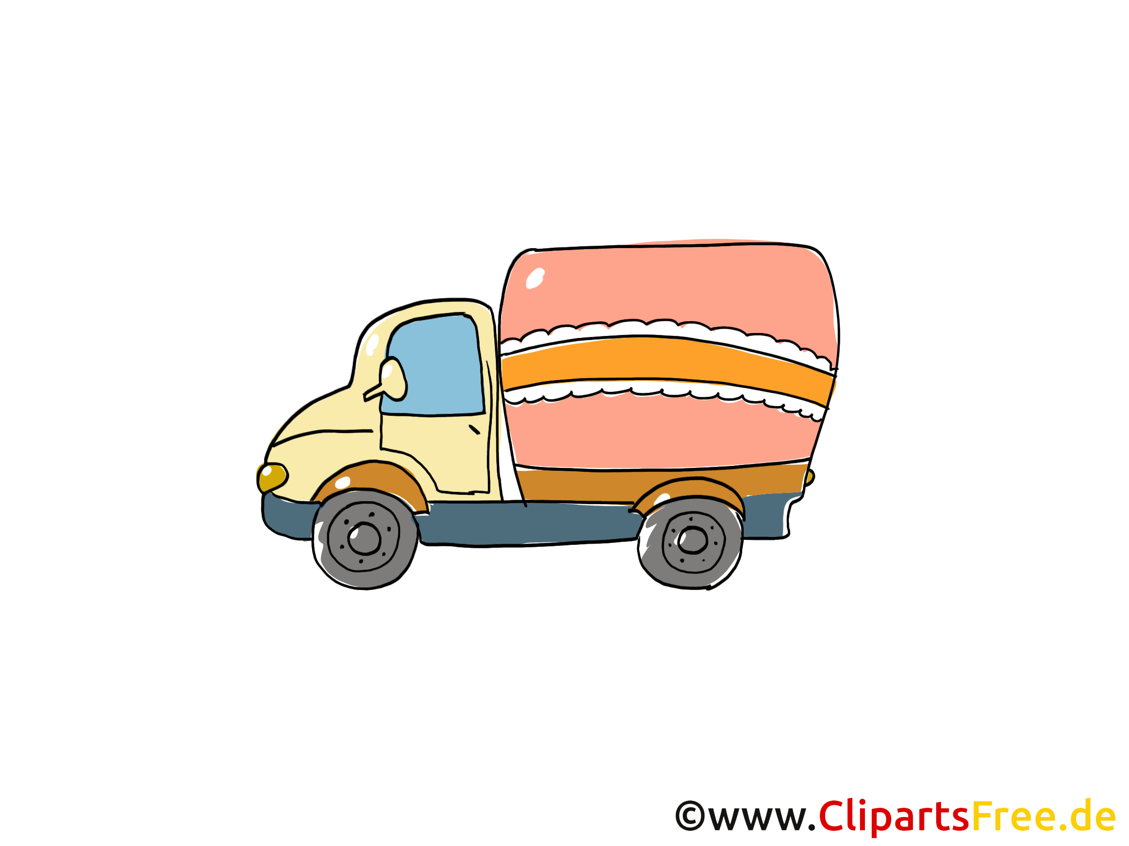 LKW Clipart, Bild, Cartoon, Comic, Grafik